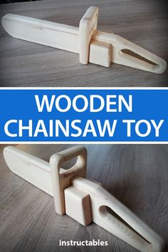 Make a wooden chainsaw toy thats safe and fun for kids to play with. #woodworking #workshop #woodshop #tool