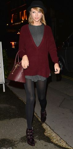 Style star: Taylor Swift donned a trendy bowler hat as she stepped out in London on Saturd...