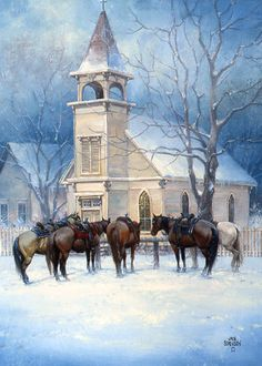 Horses At Chapel Jack Sorenson Snow Scene Art Print Framed Old Country Churches, Old Churches, Western Christmas, Christmas Art, Winter Szenen, Cowboy Art, Snow Scenes, Reproduction, Country Art