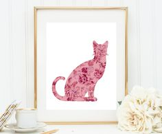 Cat Lovers Gifts, Regalos Para Gatos, Gifts for Cats, Cat Wall Art, Cat Wall Hanging, Printable Cat Art, Vintage Floral Cat, Vintage Kitty by WatercolorArtHut on Etsy