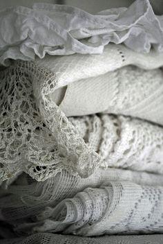 Love white vintage lace tablecloths!