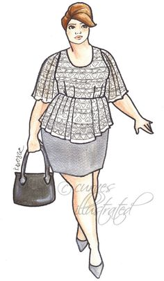Grace Plus Size Fashion Illustration Print by CurvesIllustrated