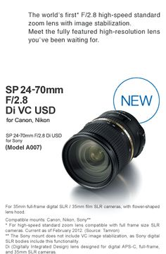 So many things to spend money on. This definitely is at or near the top of the list. Check out review at http://www.ephotozine.com/article/tamron-sp-24-70mm-f-2-8-vc-usd-lens-review-19056