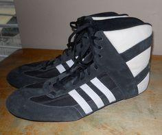 221203a8e75 Adidas Ape 779 art 72660 wrestling shoes black white Mondial 1998 vintage  sz 12