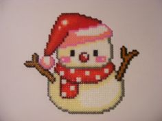 Snowman hama perler beads by ki-vi Pearler Bead Patterns, Perler Patterns, Beaded Cross Stitch, Cross Stitch Patterns, Pixel Art, Art Hama, Christmas Perler Beads, Art Perle, Hama Beads Design