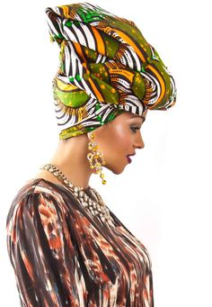 Fabulous Green & Orange African Headwarp Material  £12.00 zanjoo.com ~African fashion, Ankara, kitenge, African women dresses, African prints, African men's fashion, Nigerian style, Ghanaian fashion ~DKK