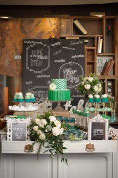 Emerald inspired sweet table. wedding. cake. cupcake. butter cream. fondant. chevron. pleats. marshmallow. cake pops. lace. cookies. flowers. ranunculous.