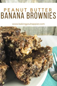 Vegan Peanut Butter Banana Brownies, loaded with peanut butter, chocolate, and bananas! These bars are a delicious alternative to traditional banana bread!