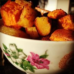roasted sweet potato and pineapple, just modify the canola oil to EVOO or coconut oil