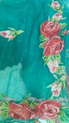 My cross stitch embroidered net saree.