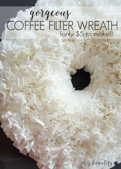 inexpensive winter white wreath from coffee filters great gift idea, christmas decorations, crafts, diy, wreaths Coffee Filter Wreath, Coffee Filter Crafts, Coffee Filter Flowers, Coffee Filters, Coffee Filter Art, Wreath Crafts, Diy Wreath, Wreath Ideas, Mesh Wreaths