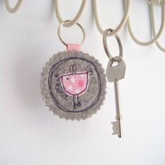 Fabric Birdy Key Ring by Honeypips, the perfect gift for Explore more unique gifts in our curated marketplace. Felt Diy, Felt Crafts, Fabric Crafts, Crafts To Make, Sewing Crafts, Sewing Projects, Freehand Machine Embroidery, Free Motion Embroidery, Felt Keyring