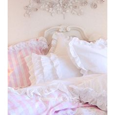 QUEEN BEACH COTTAGE CHIC DREAMY WHITE RUFFLES COMFORTER SET ❤ liked on Polyvore featuring home, bed & bath, bedding, comforters, white ruffle comforter set, queen pillow shams, queen comforter set, queen bed linens and white ruffle bedding