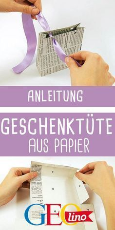 Aus Zeitungspapier schöne Geschenktüte basteln. #basteln #bastelnmitkindern #geschenkidee #schenken #papier #bastelnmitpapier #upcycling