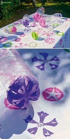 Environmentally friendly DIY is worth learning Page 25 of 55 Sciliy - Diy Gifts Diy And Crafts, Crafts For Kids, Diy Bottle, Spring Party, Toddler Art, Flower Stamp, Preschool Art, Diy Candles, Candle Wax