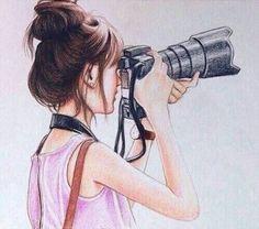 cute drawing of a girl with camera ile ilgili görsel sonucu