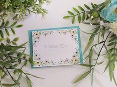 "5-pack/10-pack, ""Thank You"" Cards & Blue Envelopes, Full Floral Border by LittleOakCardCo on Etsy https://www.etsy.com/listing/261369672/5-pack10-pack-thank-you-cards-blue"