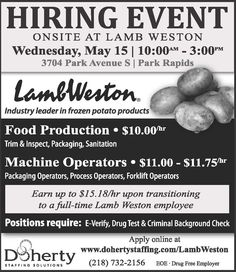 Doherty Hiring Event: Wednesday, May 15 in Park Rapids