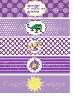 INSTANT DOWNLOAD Diy Tangled Rapunzel Inspired Birthday Party Digtial PRINTABLE Water Bottle Labels