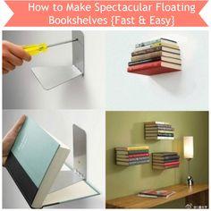 Tutorial: How to Make Spectacular Floating Bookshelves {Fast