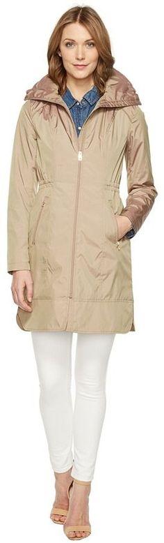Cole Haan 36 Single Breasted Rain Jacket with Packable Hood Women's Coat