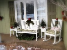 Festifying the Front Porch. Front Porch Furniture, Outdoor Furniture, Outdoor Decor, Front Yard Garden Design, Porch Swing, Christmas And New Year, Cottage, Patio, Porch Ideas
