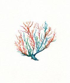 No. 5 Sea Coral / Coral/ Teal/ Aqua/ Orange / by kellybermudez, $20.00