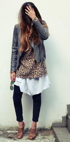 Layered. Leopard shirt over white linen shirt, black pants, camel shoes, grey jacket.