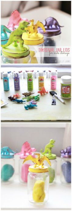 Dino lids for kids storage, easy tutorial!