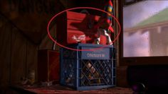 """The toolbox on top of the milk crate that Woody is trapped in is a Binford, the same type of tool that Tim Allen used on his television show """"Home Improvement."""""""