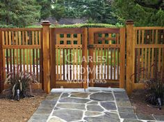 Out of all the cedar fence gate designs out there, this gorgeous, rustic wooden fence is the perfect touch as an entranceway to the garden! Fence gate ideas and design. Wooden Garden Gate, Garden Gates And Fencing, Wooden Gates, Wooden Gate Designs, Wood Fence Gates, Wooden Fences, Picket Fences, Fence Garden, Garden Benches