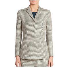 Akris Helia Graphic Jacquard Jacket (212.595 RUB) ❤ liked on Polyvore featuring outerwear, jackets, blazers, multi, jacquard jacket, akris jacket and akris