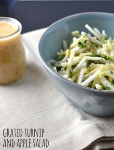 Not sure what to do with turnips? Try this Grated Turnip and Apple Salad. The crunch of the turnip and apple feels so refreshing and we've paired it with our Spicy Grapefruit Salad Dressing - delicious! Turnip Recipes, Apple Salad Recipes, Cabbage Salad Recipes, Root Veggies, Vegetables, Ketogenic Recipes, Vegan Recipes, Turnip Salad, Grapefruit Salad