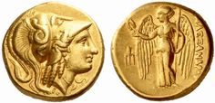 ALEXANDER III (336 - 323 BC). Gold distater, uncertain Macedonian mint ('Amphipolis'), c. 330-320 BC. Head of Athena r., wearing Corinthian helmet with triple crest, the bowl decorated with a snake. Rv: ALEXANDROU. Nike, wearing long chiton, wings open, standing l., holding stylis in l. hand, wreath in outstretched r.; in l. field, trident-head