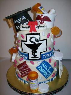 Pharmacy student - pharmacist graduation cake  By: Sweet_Dash