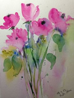 "Aquarell , "" Wiesenblumen "", Natur, Blumen , 17 x 24 cm , Unikat"