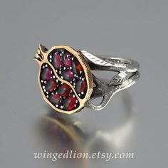 POMEGRANATE garnet 14K gold and silver ring by WingedLion on Etsy
