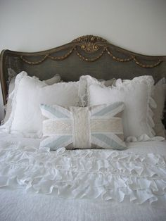 Lily Linen Ruffle Shams Standard Size 20x26 by FullBloomCottage, $169.00