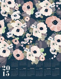 UNE FEMME 2015 large canvas wall calendar on Etsy, $44.00