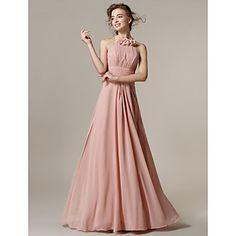 una línea de vestidos de dama de honor de la gasa del halter piso de longitud (2671956) – CLP $ 62.861