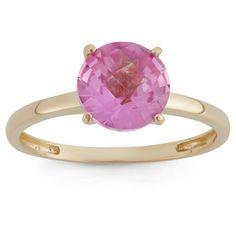 2 Tcw Tiara Round-cut Sapphire Ring in 10k Yellow Gold - (5), Women's, Pink Sapphire