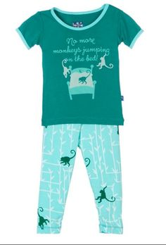2843d57b3c1b Kickee Pants Print Short Sleeve Pajama Set Glass Forest Monkey