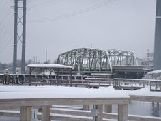 Snow covered swing bridge.  From the view of the Soundside Park on 1-10-11.