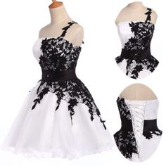 2014 Glam White Black Formal Prom Dresses Graduation Party Short Evening Dress | eBay