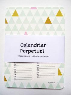 Calendrier perpétuel pour noter les anniversaires.NOUVEAUX motifs géométriques