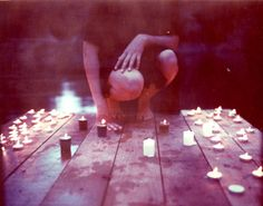 candle ceremony on a dock