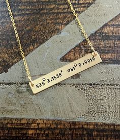 Hey, I found this really awesome Etsy listing at https://www.etsy.com/listing/220576695/gold-bar-necklace-coordinates-jewelry