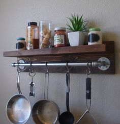 """Industrial Rustic Kitchen Wall Shelf Spice Rack with 24"""" Pot Rack Bar and 5 S Hooks by KeoDecor on Etsy https://www.etsy.com/listing/192132313/industrial-rustic-kitchen-wall-shelf"""