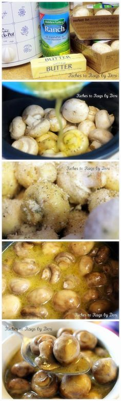 Crockpot Parmesan Ranch Mushrooms - Mmmmm perfect for a steak party!