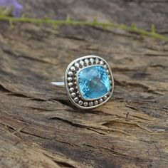 Natural Blue Topaz Gemstone Solid 925 Sterling by Subhamjewels